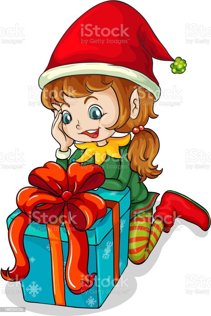 elf beside a gift vector art illustration