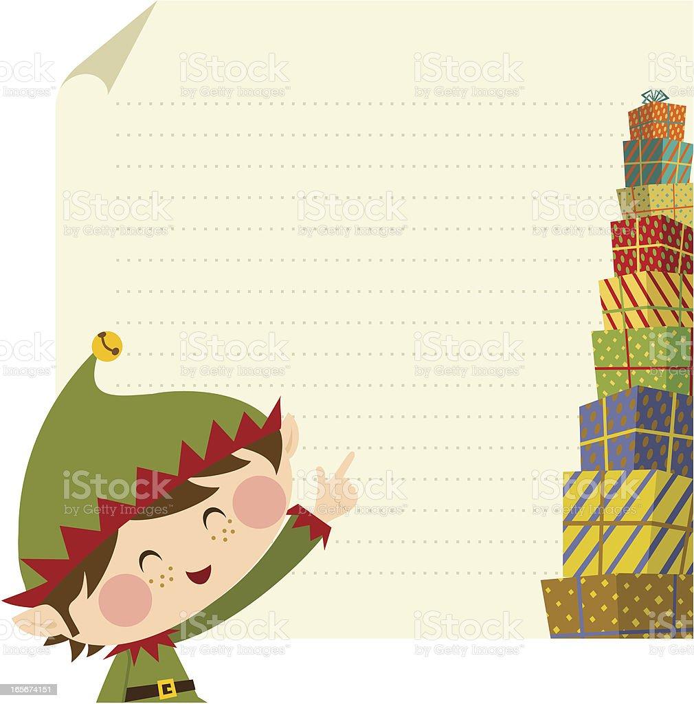 Elf christmas card vector art illustration