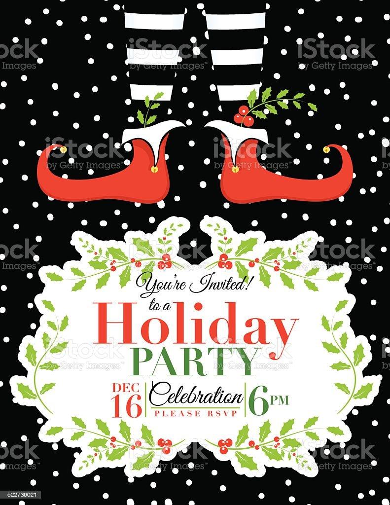 Elf Christmas Party Invitation Template vector art illustration