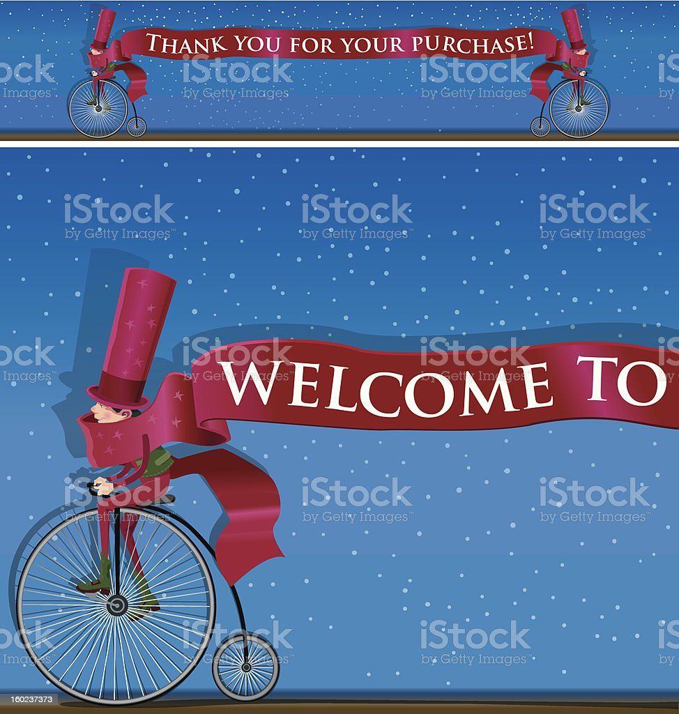 Elf cyclist with ribbon. royalty-free stock photo