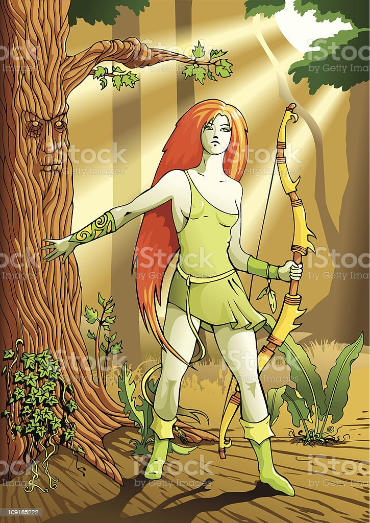 Elf female archer royalty-free stock vector art