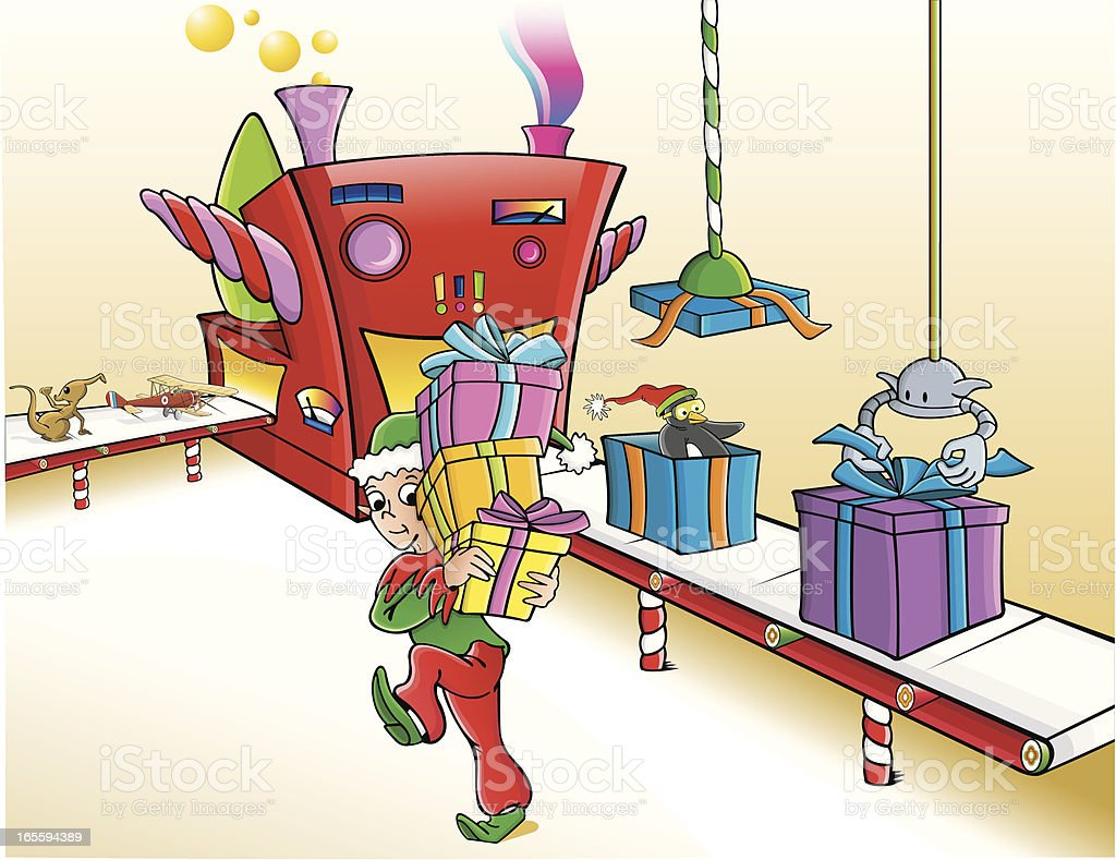 Elf in toy factory vector art illustration