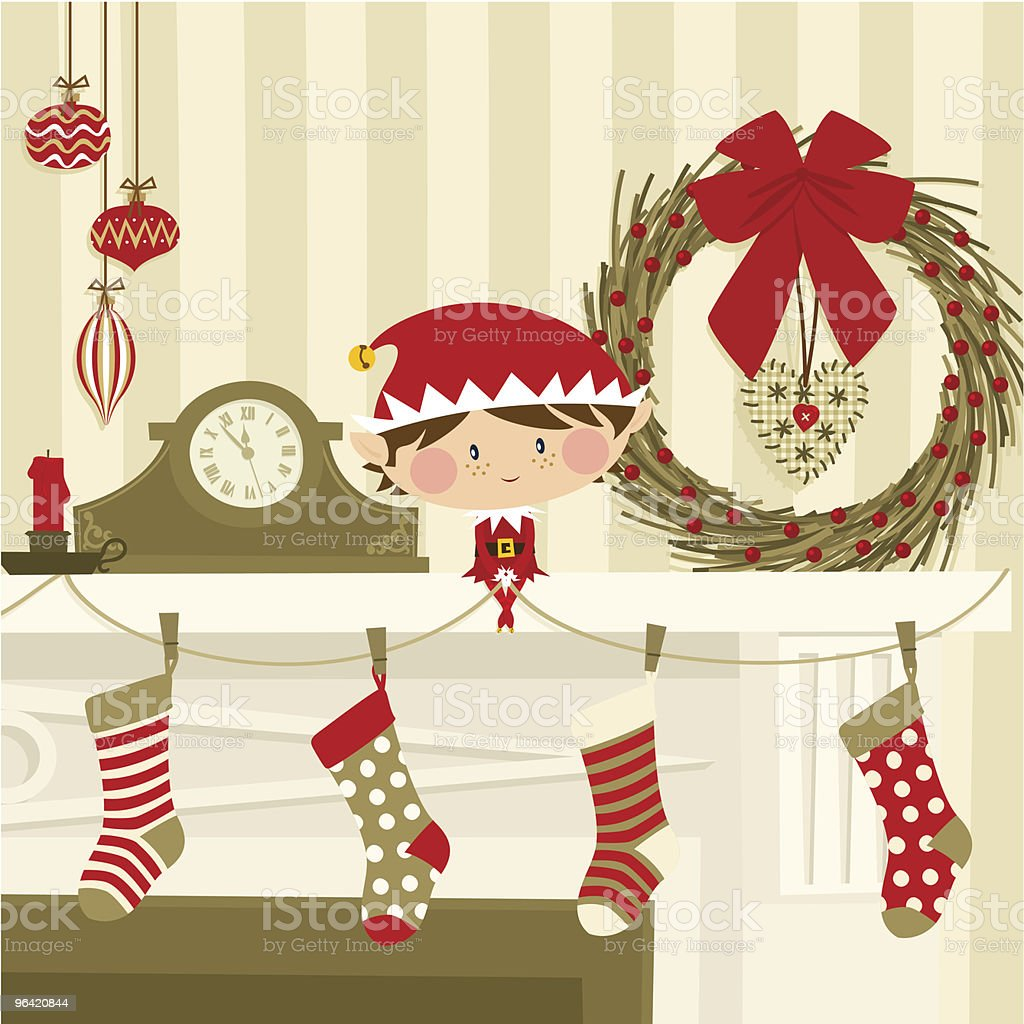 Elf on  the fireplace vector art illustration