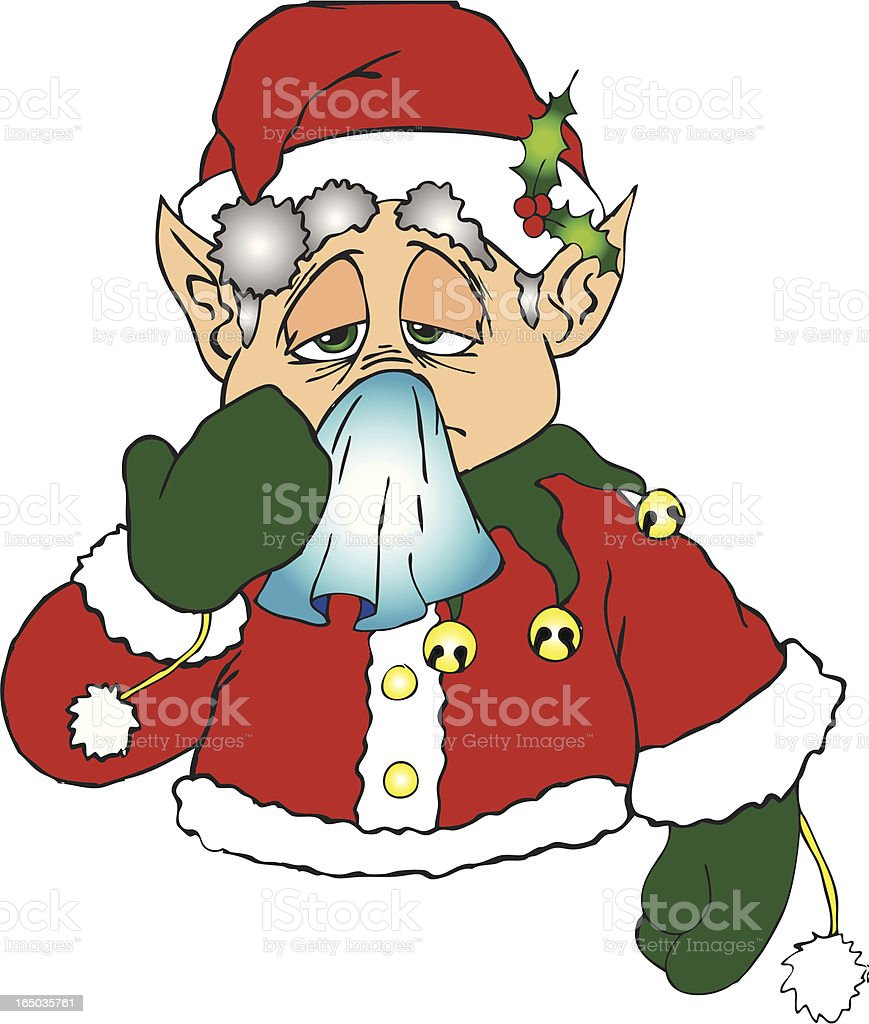 Elf with a cold royalty-free stock vector art