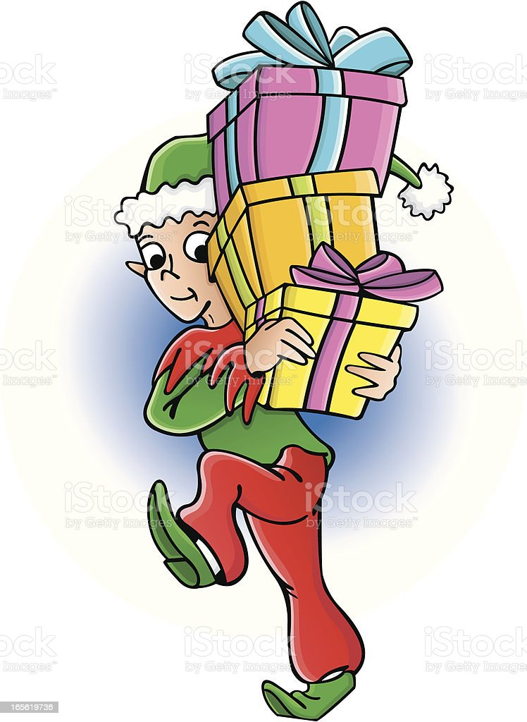 Elf with gifts vector art illustration