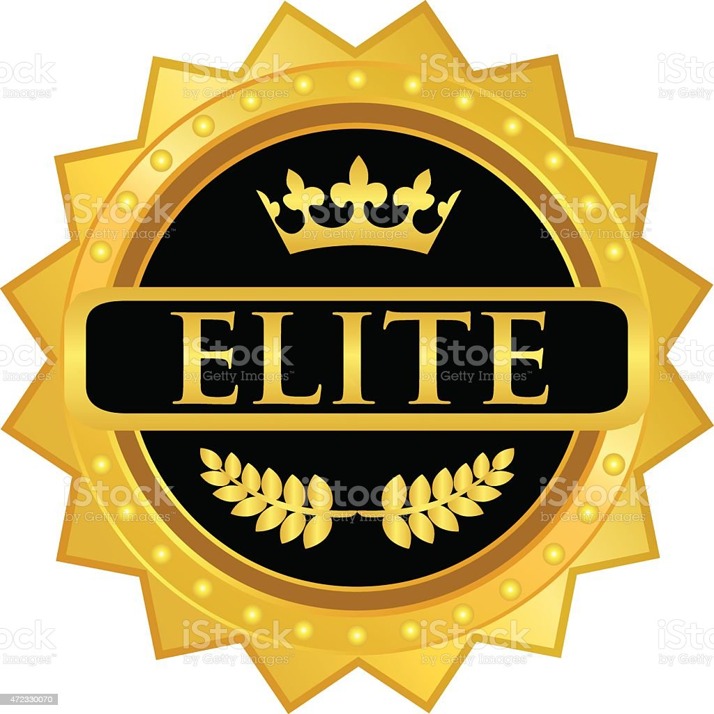 Elite Gold Badge vector art illustration
