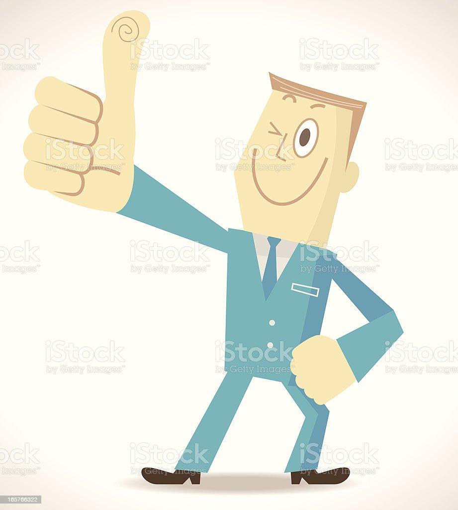 Elite Man Gesturing Thumbs Up vector art illustration