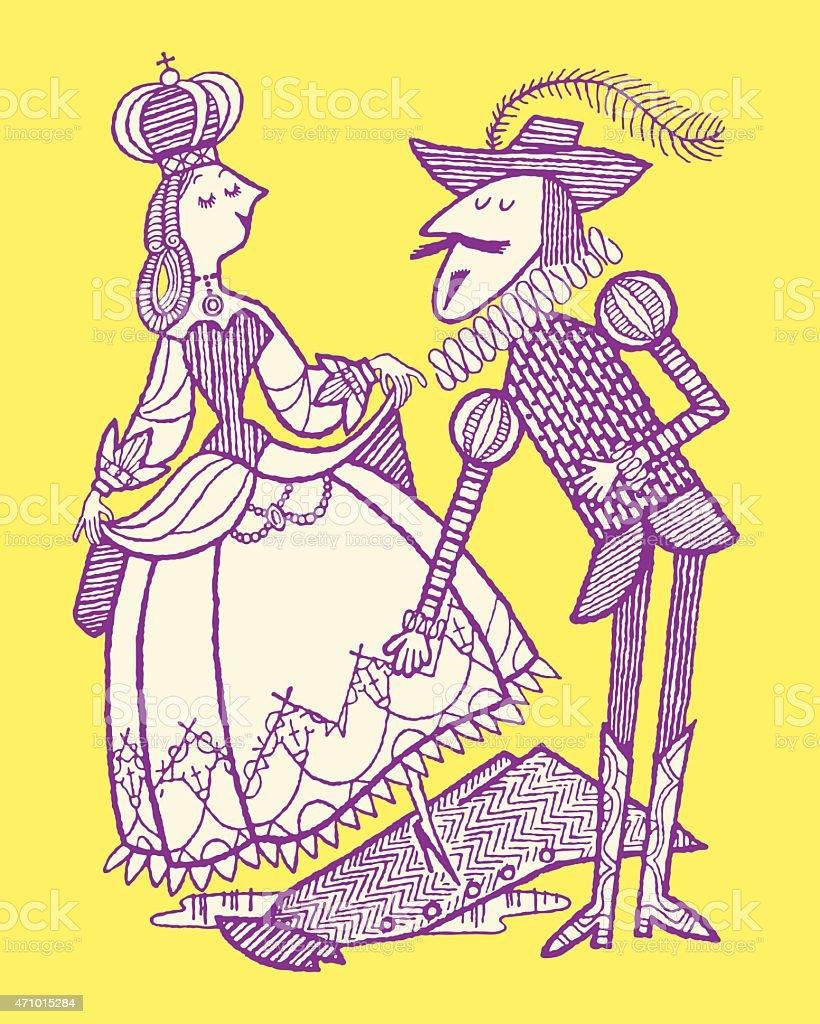 Elizabethan Man and Woman vector art illustration