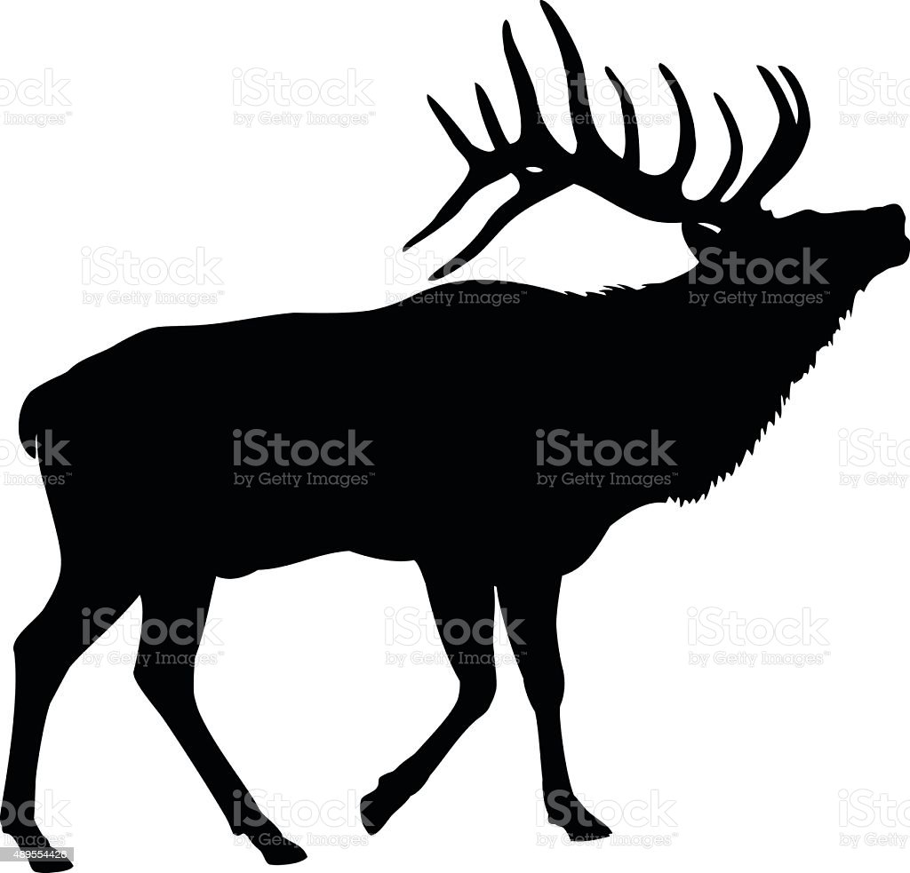 Elk Deer Silhouette vector art illustration