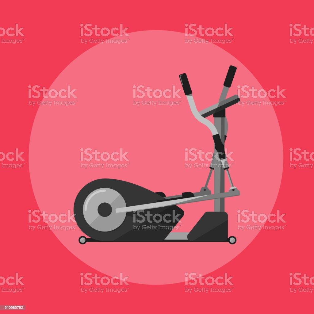 Elliptical cross trainer. Gym sports equipment vector art illustration