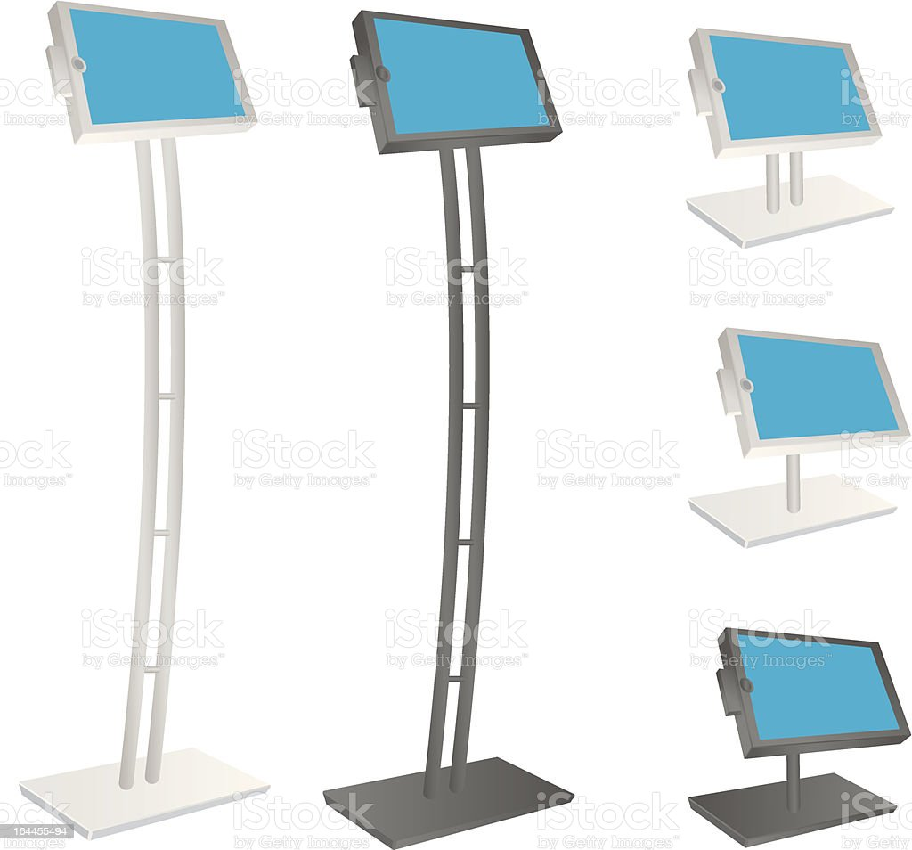 Elongated and normal-sized tablet kiosk stands royalty-free stock vector art