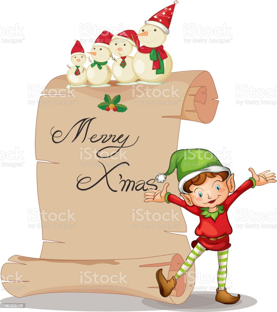 Elve and a snowman royalty-free stock vector art