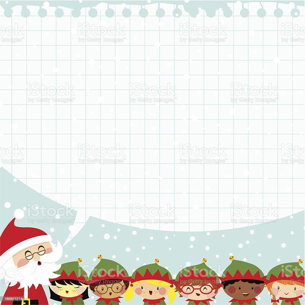 Elves and Santa Claus vector art illustration