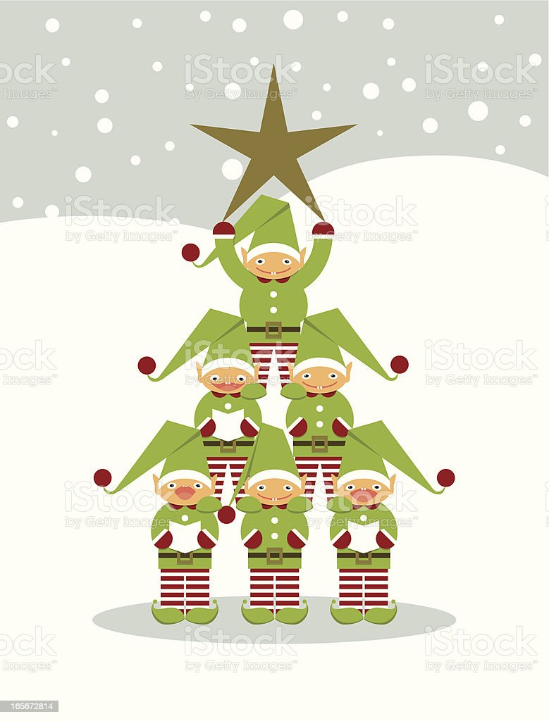 Elves' Christmas tree royalty-free stock vector art