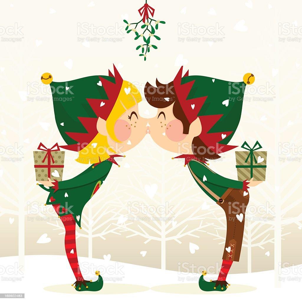 elves kissing vector art illustration