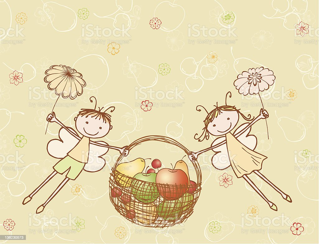 elves  with a basket of fruit stock photo