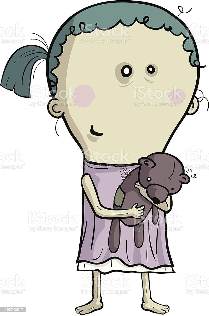 Emaciated girl holding a shabby bear doll royalty-free stock vector art