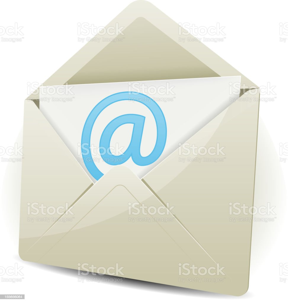 Email 3D icon on white background royalty-free stock vector art