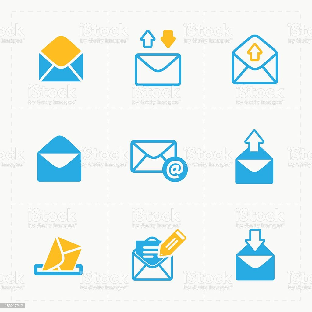 Email and envelope icons on White Background. vector art illustration