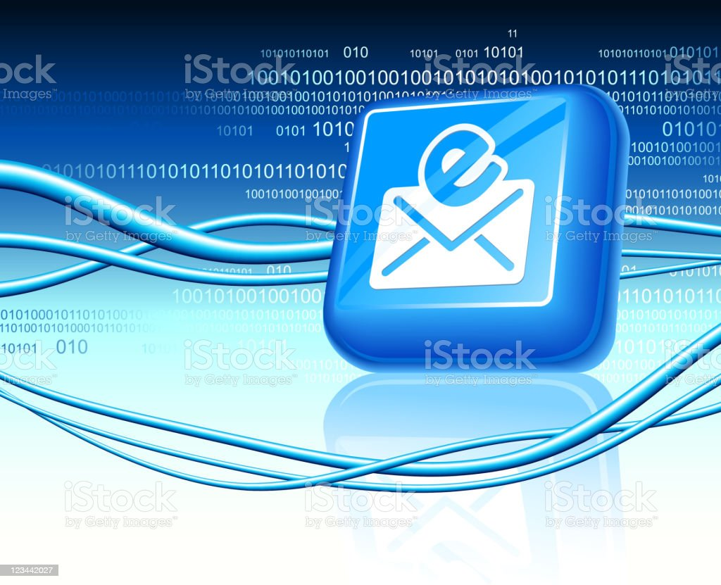 Email button design on blue Background royalty-free stock vector art