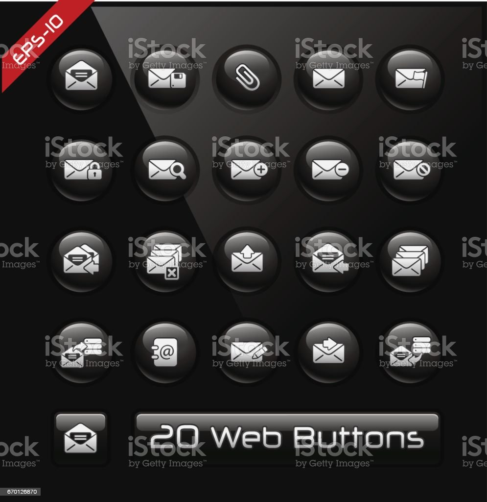 E-mail development software Icons // Black Label vector art illustration