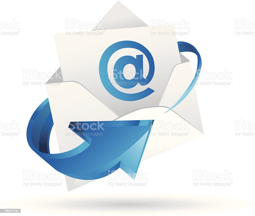 Email icon of an envelope, a curved arrow and the @ symbol royalty-free stock vector art