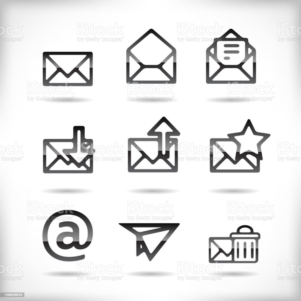 Email Icon Set royalty-free stock vector art
