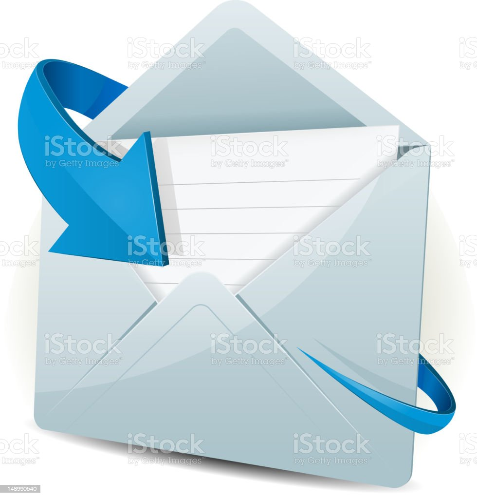 Email Icon With Blue Arrow vector art illustration