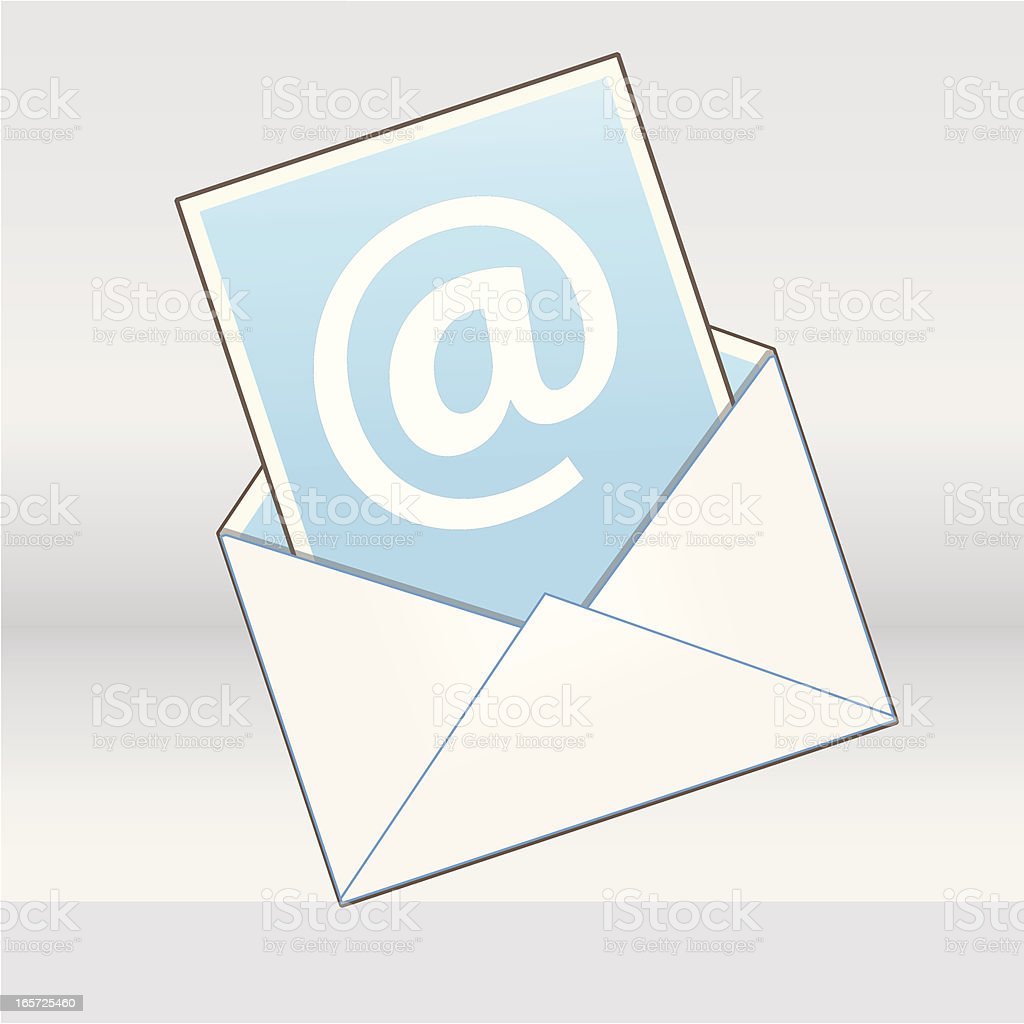 Email Icon with Sheet of Paper royalty-free stock vector art