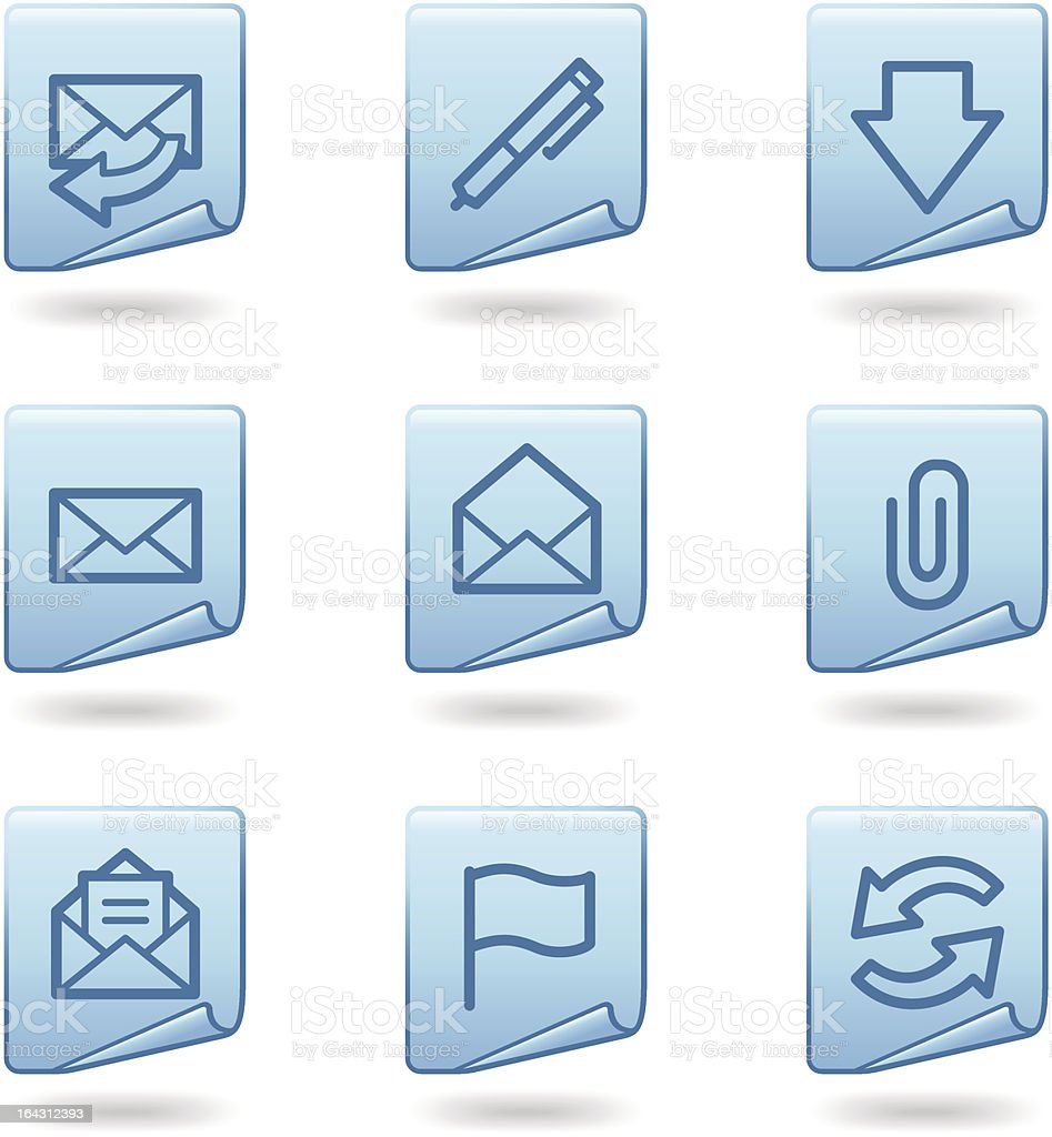 E-mail icons, blue sticker series royalty-free stock vector art