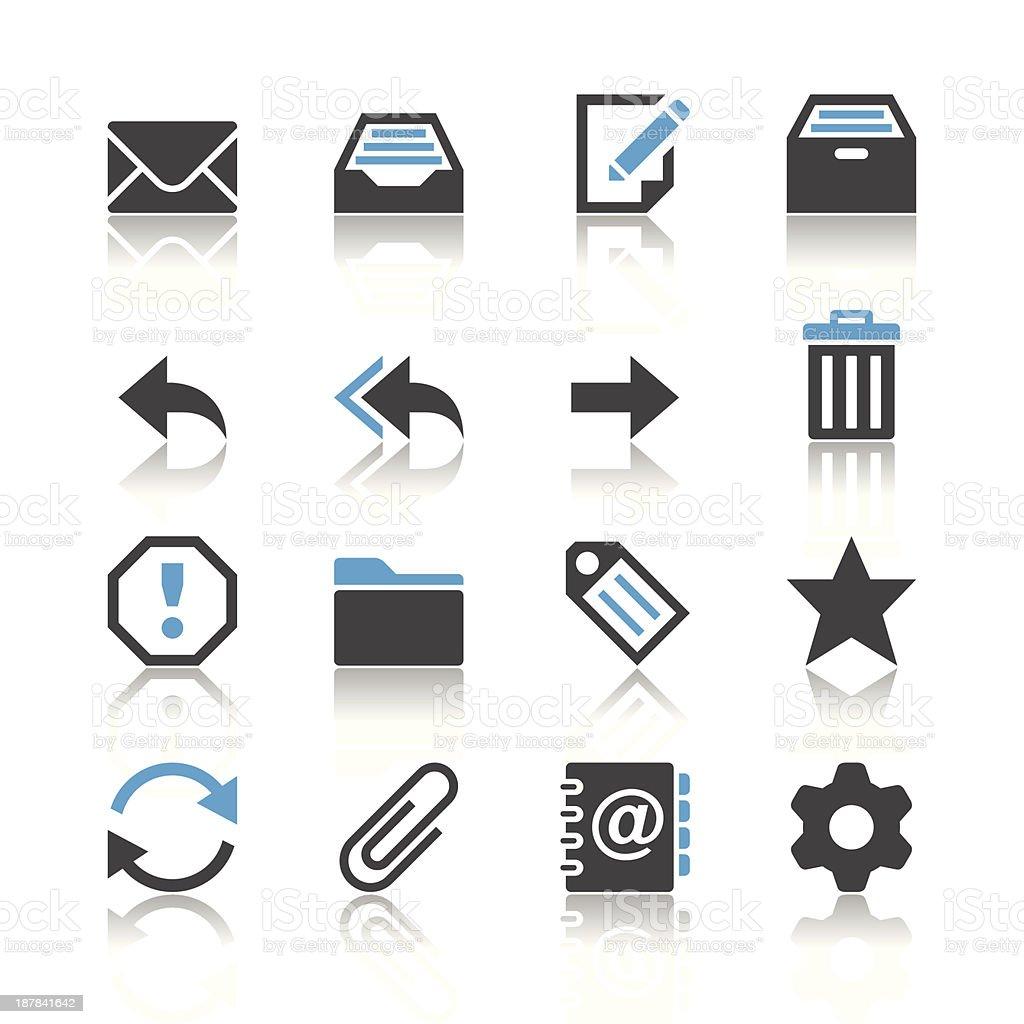 E-Mail icons - reflection theme vector art illustration