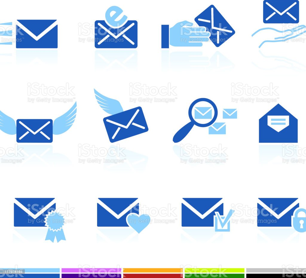 email letter and communication color royalty free vector icon set royalty-free stock vector art
