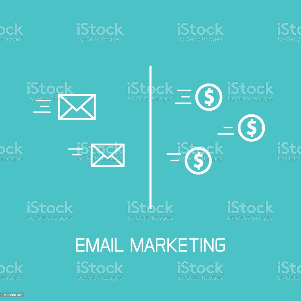 Email marketing vector, conversion of e-mail envelopes to money coins flow icons vector art illustration