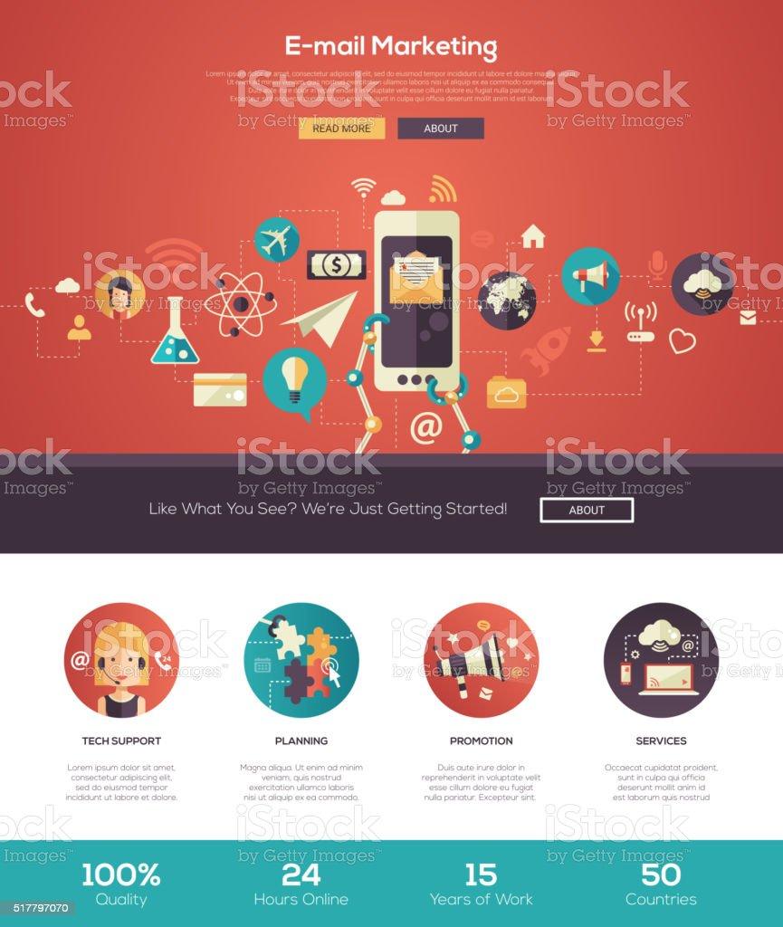 E-mail marketing website header banner with webdesign elements vector art illustration