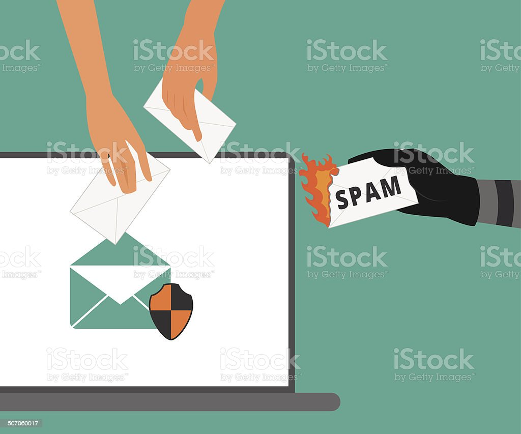 Email protection from spam vector art illustration