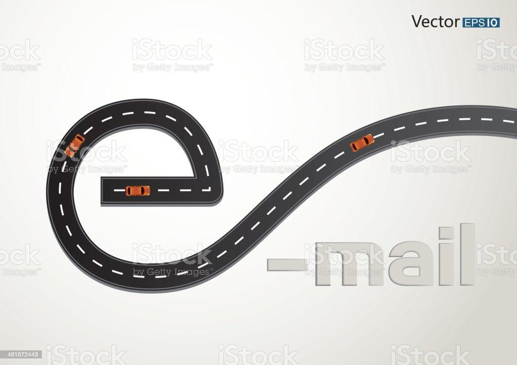Email road vector art illustration