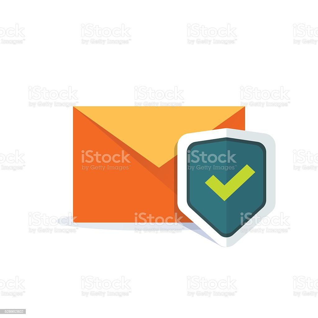 Email security concept, orange e-mail envelope with shield icon vector art illustration