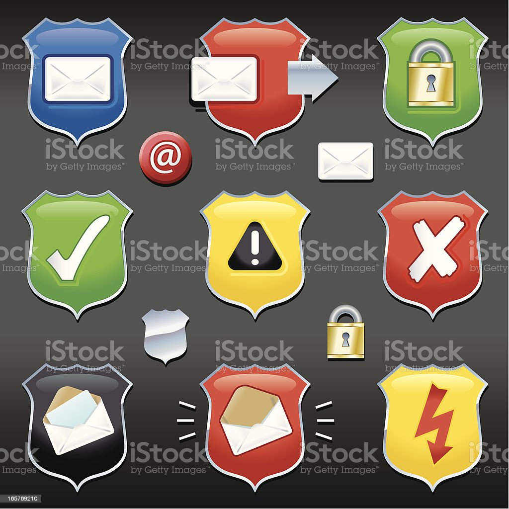 Email Security Shields vector art illustration