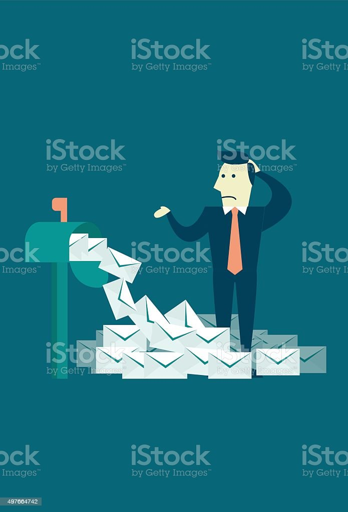Email Spamming is Out of Control vector art illustration