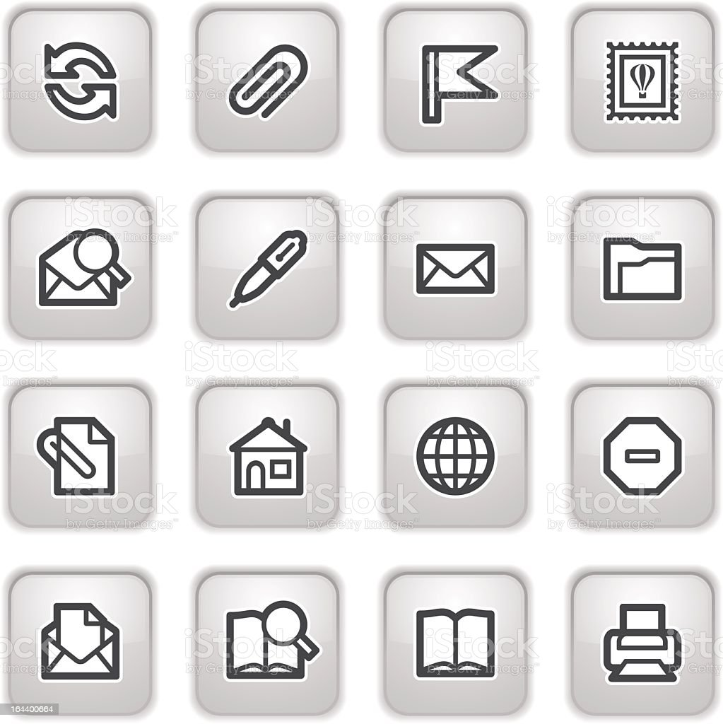 E-mail web icons on gray buttons. royalty-free stock vector art