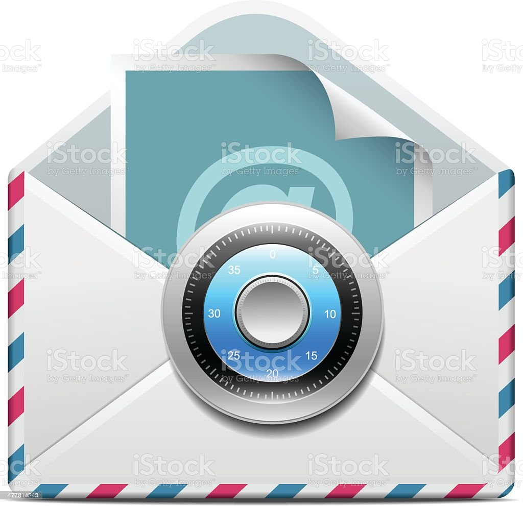 E-mail with lock royalty-free stock vector art