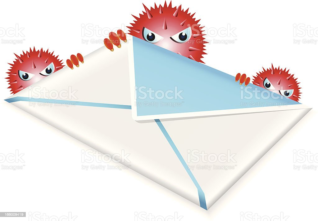 Email with Virus vector art illustration