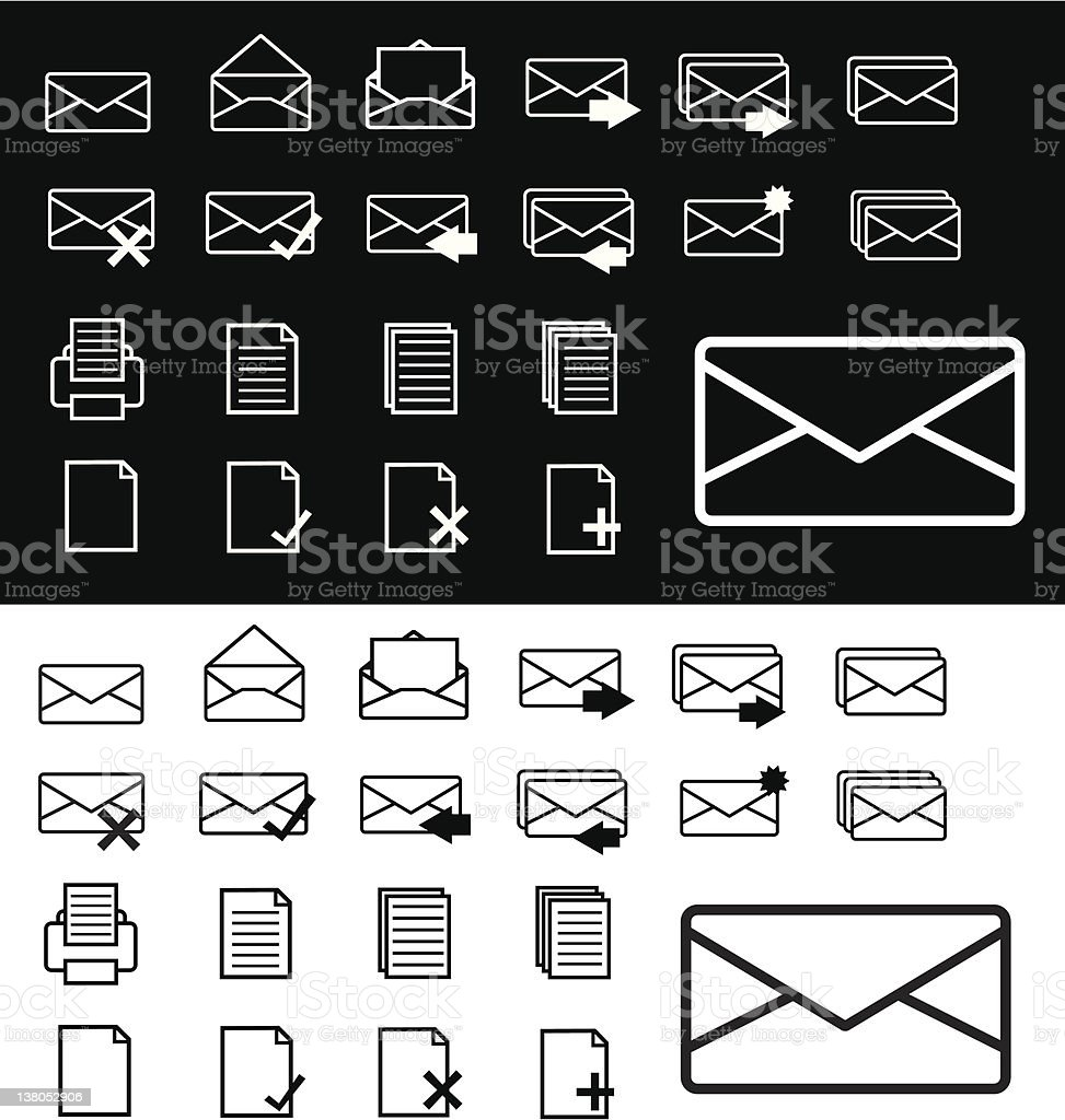 email/internet icons b&w royalty-free stock vector art