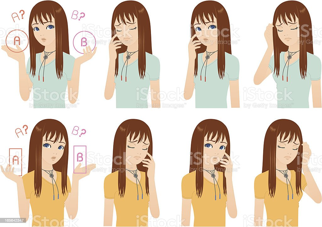 Embarrassment.  She has trouble. royalty-free stock vector art