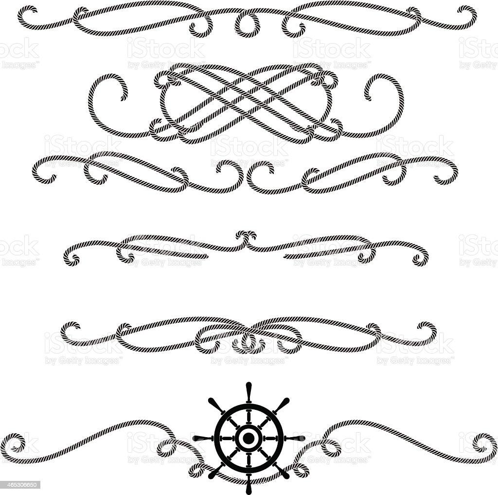 Embellished rope line graphic set vector art illustration