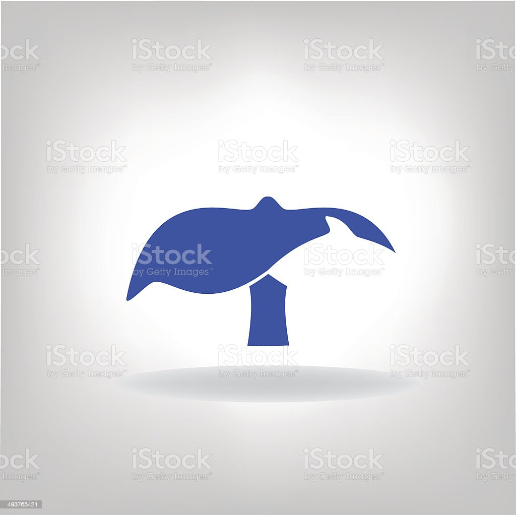 emblem a tail of a whale vector art illustration