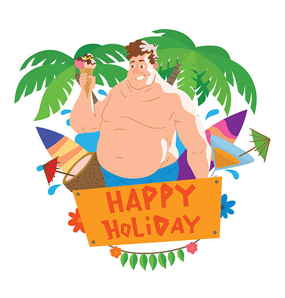 Fat Man At Beach Cartoon Clip Art, Vector Images & Illustrations ...