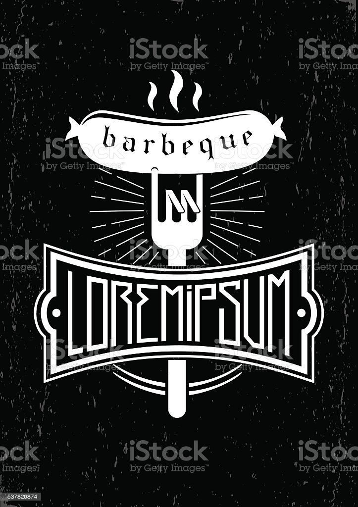 Emblem for the barbecue vector art illustration