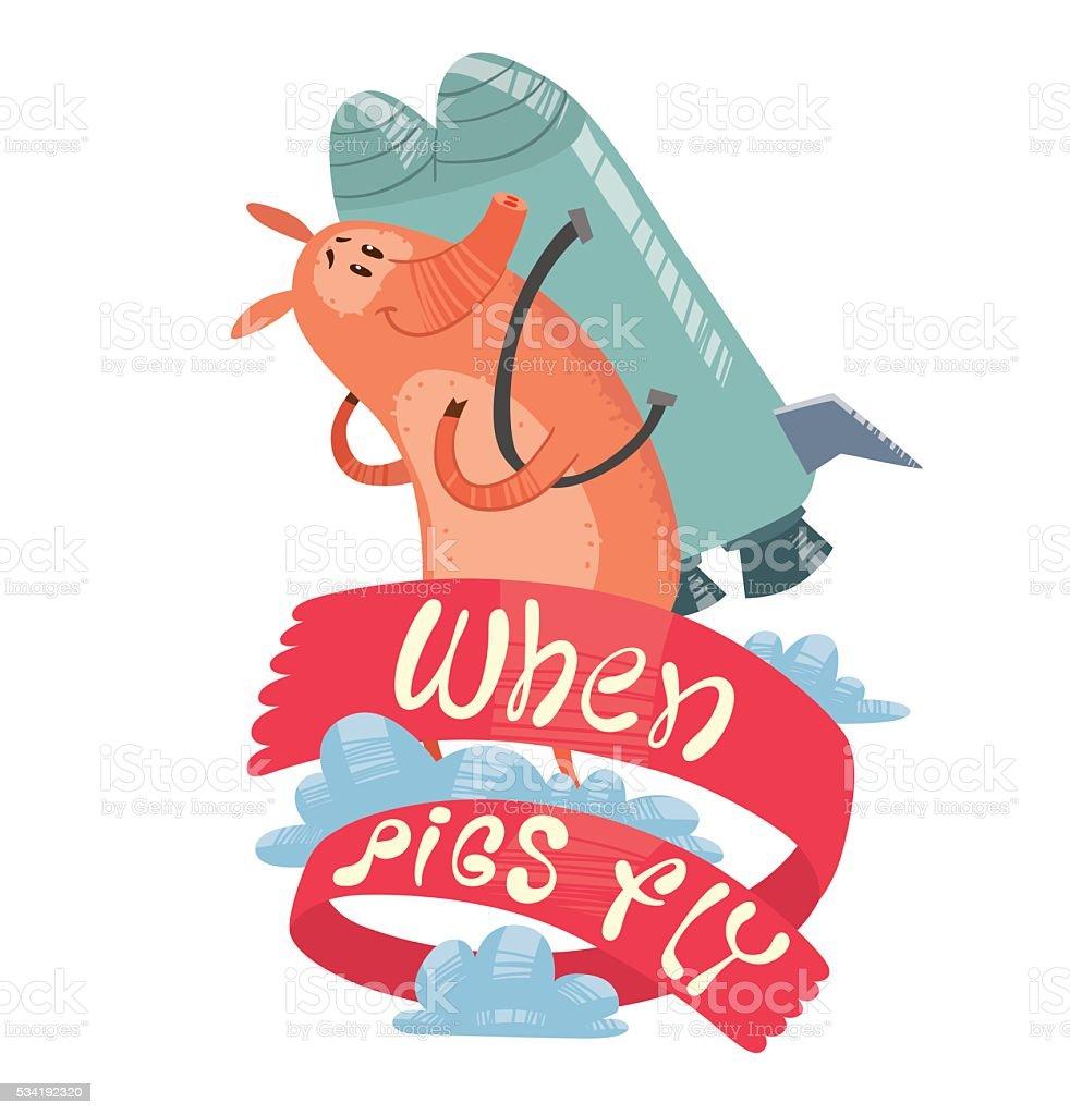 Emblem, funny pink pig with gray metal jetpack vector art illustration
