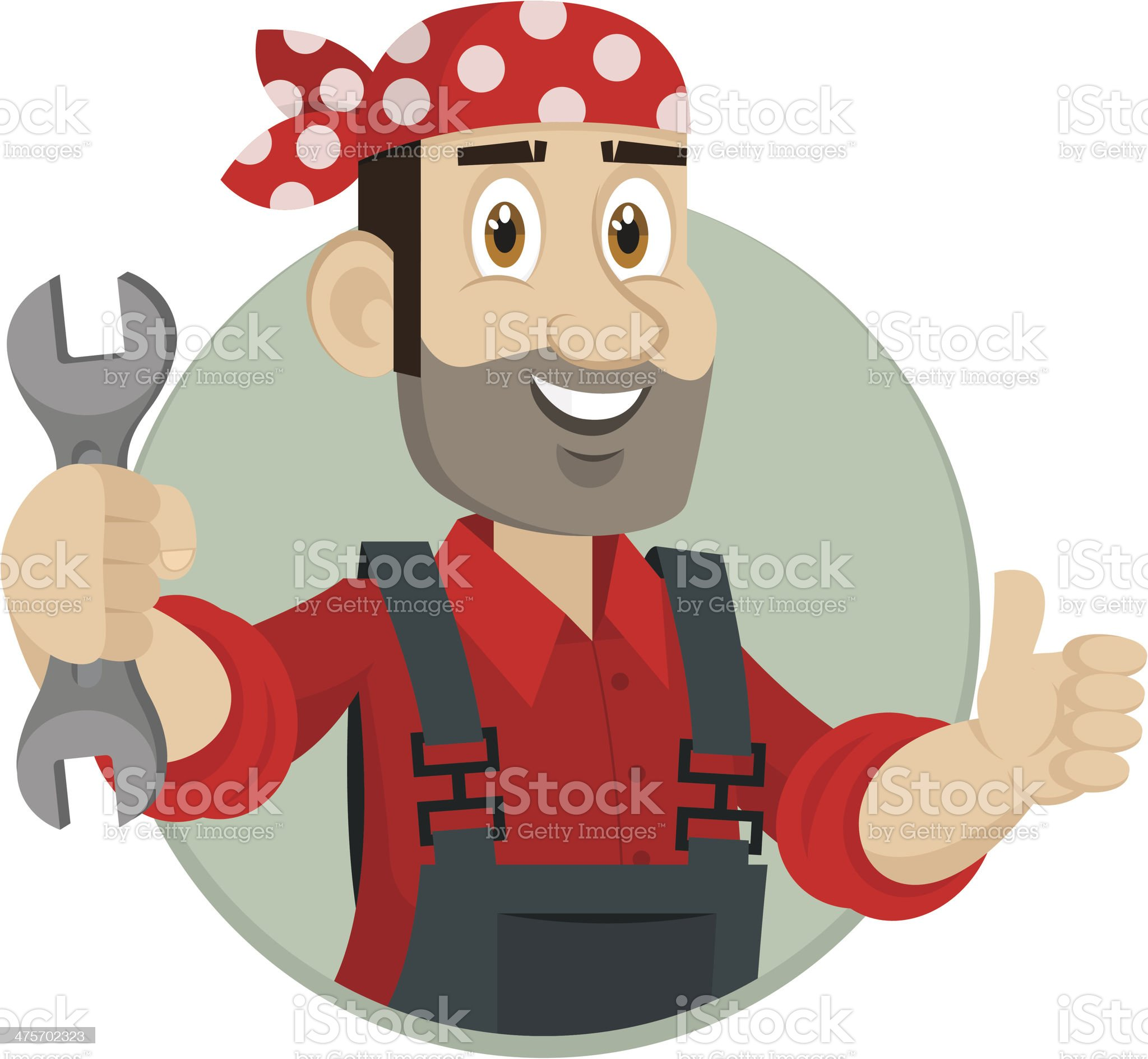 Emblem mechanic holds wrench in circle royalty-free stock vector art
